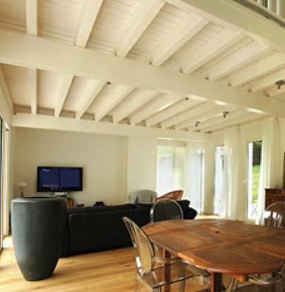 Techos de madera pintados de color reparaci n del techo - Techos de madera blanco ...